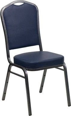 Crown Back Stacking Banquet Chair w/Fabric and 2.5'' Thick Seat - Silver Vein Frame