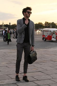 Black shirt, mid grey jacket, dark grey trousers - monochrome greatness The Gentlemen's Attire