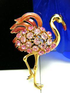 Trifari tm Figural Rhinestone Enamel Flamingo Brooch Gorgeous Large Pin #Trifari