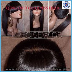 Online Shop Ponytail lace human hair wig glueless full lace wig&lace front wig with full bang silky straight 130% density Brazilian wigs|Aliexpress Mobile