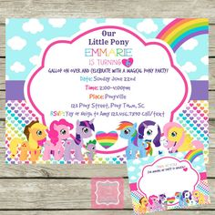 My Little Pony Invite and Thank You Cards Personalized DIY Printable Invitation on Etsy, $9.98