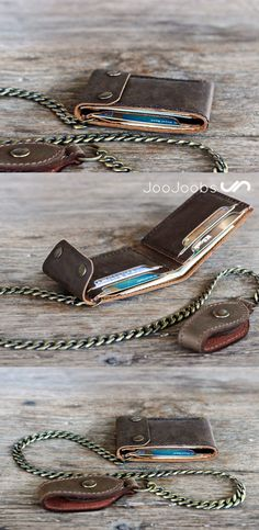 I found this awesome, handmade leather biker wallet in the JooJoobs shop. Very cool, bifold design. The perfect sized biker chain wallet.