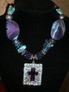 Turq beads and Purple agate with metal pendant with crystal purple cross, 18 inch long $75.00