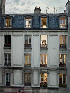 lighted windows at dusk Architecture Parisienne, French Architecture, Building Architecture, Architecture Design, Building Design, Amsterdam Architecture, Building Ideas, Landscape Architecture, Tuileries Paris