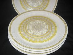 Franciscan 1970's Hacienda  Gold Four Dinner Plates/Vintage Franciscan Dinnerware/Franciscan Hacienda Gold Dinner Plates/Franciscan U. S. A. by CollectorVintageShop on Etsy