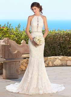 D240 Real Made  Mermaid Long Wedding Bridal Gowns, Halter Backless Wedding Dreses