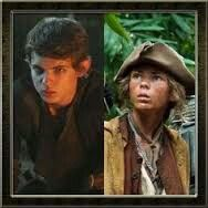 Robbie Kay as Pan in OUAT and a cabin boy in Pirates of the Caribbean: On Stranger Tides