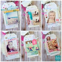 Mini album tags, scrapbooking, webster's pages, ocean melody collection