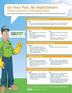 """SepticSmart - EPA. 5 ways to be kinder to your septic system. Great Tips. We'd add a number 6...""""Install a controlled septic system aerator"""" Septic Tank Systems, Septic System, Septic Tank Covers, Sewer Repair, Contractors License, Tank Design, Alternative Treatments, Protecting Your Home, How To Buy Land"""