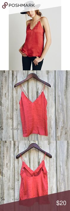 Free People Sensual Satin Scallop Cami Color: Burnt | Condition: pre-owned. Normal wear. No noted defects. | NO TRADED Free People Tops Camisoles
