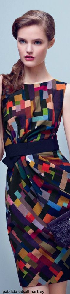 Multicolored squares print shift dress