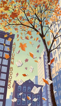 Andrew Davidsons beautiful autumnal illustration for the Wall Street Journal Lesen ist Leidenschaft Autumn Illustration, Book Illustration, Illustration Editorial, Book Wallpaper, Reading Wallpaper, Wallpaper Wallpapers, Reading Art, Ouvrages D'art, World Of Books