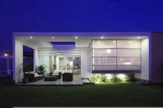 Various Marvelous Glass Facades Applied in Residential Style: Incredible Minimalist Patio Space In Casa Spa With Brown Sofas With Modern Hom. Modern House Design, Modern Interior Design, Residential Architecture, Interior Architecture, Kb Homes, Glass Facades, Facade Design, Terrace Design, Exterior Design