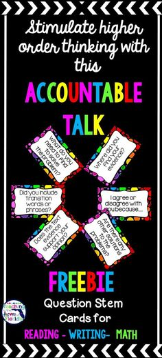 Want to try accountable talk in your classroom? These FREE Question Stem cards help facilitate that higher order thinking and will get your students talking and learning quickly! Reading Response, Reading Skills, Teaching Reading, Learning, Guided Reading, Teaching Math, Free Teaching Resources, Teaching Strategies, Teaching Ideas