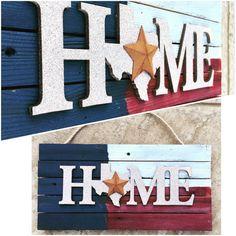 Texas Home Reclaimed Wood Sign Texas Flag by DeborahLynnJewelry Texas Signs, Texas Flags, Reclaimed Wood Wall Art, Barn Wood, Painted Signs, Hand Painted, Texas Home Decor, Texas Crafts, Texas Humor