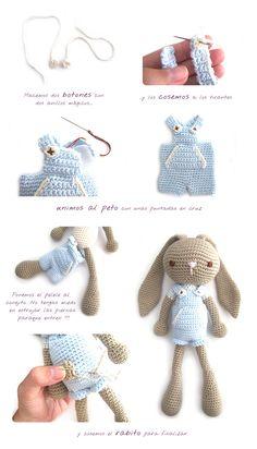 Conejito de Orejas Largas Amigurumi - Patrón Gratis en Español - click aquí para el patrón base : http://www.creativaatelier.com/peluche-amigurumi-crochet-conejita/ y aquí para la explicación del conejito: http://www.creativaatelier.com/conejito-amigurumi-nino/