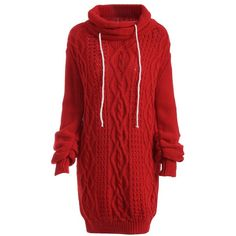 Turtleneck Long Sleeve Cable Knit Sweater Dress ($22) ❤ liked on Polyvore featuring dresses, red sweater dress, red turtleneck, turtleneck tops, long sleeve dress and turtle neck sweater dress