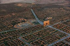 The ruins of a Roman colony in Africa.  https://en.wikipedia.org/wiki/Timgad