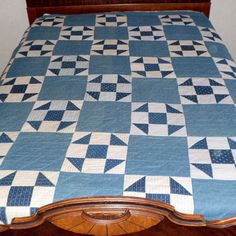 Antique Blue & White Quilt Hand Stitched Belle Minnesota 83 x 72  $175
