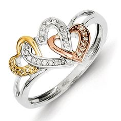 Gold and Watches Sterling Silver & 14k Yellow/Rose Gold Diamonds Three Heart Ring Gold and Watches http://smile.amazon.com/dp/B00FA3MS8E/ref=cm_sw_r_pi_dp_UnDWub1NR68HE