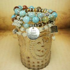 Mayan Rose Shop - Multi-Wrap Charm #Bracelet with Blue Veins Agate, Tiger Eye ~~~ #jewelry #handmadejewelry #etsy #gemstones #crystals #chakras #yoga