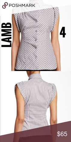 "LAMB striped collared short sleeve blouse Excellent Condition Spread collar - Button front closure - Short sleeves with button closure detail - Can be worn sleeveless  - Pleated at shoulders - Striped allover  - Split side hem. UA to UA: 15"", Front Length: 27"", Back Length: 23.5"" L.A.M.B. Tops Blouses"