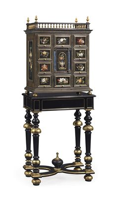 AN ITALIAN ORMOLU AND PIETRE DURE-MOUNTED EBONY CABINET-ON-STAND | LATE 19TH CENTURY, THE STAND LATER