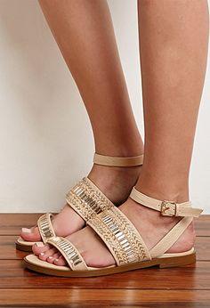 Beaded Flatform Sandals | Forever 21 - 2000094842