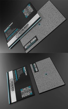Black business card design ideas. I love the QR code and digital graphic on the back.