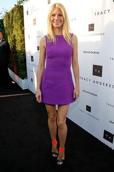 Gwyneth Paltrow wore a purple Victoria Beckham shift dress, and although the dress was very simple, her Michael Kors sandals stepped it up a notch.