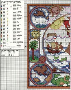 Cross-stitch The New World, part 1.. with the color chart