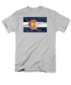 Colorado State Flag with Mountain Textures T-Shirt