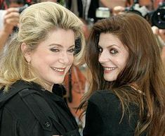 Catherine Deneuve is an actress and model who also happens to be a young looking mother. Her daughter is Chiara Mastroianni. Catherine Deneuve, Celebrities Then And Now, Stylish Couple, French Actress, Cannes Film Festival, Famous Faces, Hollywood, Celebs, Actors