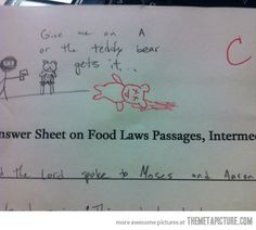 My teacher has a sense of humor…