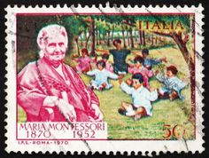Italian postage stamp celebrating Maria Montessori's 100th birthday. (1970)