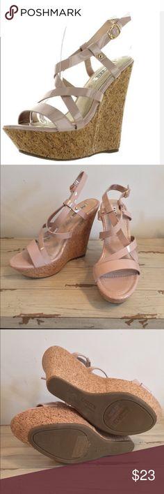 Kayleen NWT & box High heel platform wedge sandals nude Kayleen By Los Angeles Shoes Platforms