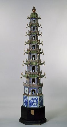 This model of a Chinese pagoda (1800-1815) was probably purchased by the Prince of Wales (later George IV) for the Pavilion at Brighton. From details in the Royal Archive it is known that about half a dozen such pagodas were bought in the years 1806 and 1816, and were expensive items