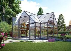 This Victory Orangery greenhouse has 9.3 m² (101 ft²) of floor space and the high vaulted ceilings allows plenty of room for trellising your tall growing plants or climbing vines. Two adjustable roof
