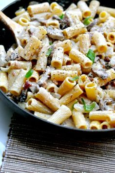 Bacon, Mushroom & Chicken Pasta - (Free Recipe below)