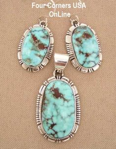 Four Corners USA Online - Dry Creek Turquoise Pendant Necklace Earring Set Native American Indian Silver Jewelry NAN-1410, $489.00 (http://stores.fourcornersusaonline.com/dry-creek-turquoise-pendant-necklace-earring-set-native-american-indian-silver-jewelry-nan-1410/)