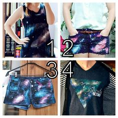 Four Galaxy Paint Tutorials from The Cheekiest Monkey of All. These are all really good tutorials. Another absolute favorite galaxy tutorial I posted is from Gloriously Chic here. For more Galaxy DIYs go here (like copyright free NASA galaxy photos): truebluemeandyou.tumblr.com/tagged/galaxy Galaxy Top here. Shorts here. Shorts here. To Infinity and Beyond here.