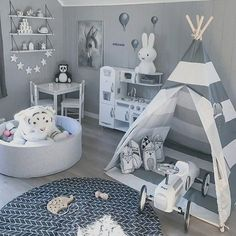 Striped Kids' Teepee Tent A comfortable shelter that will elevate your children's indoor and outdoor experience. Boy Toddler Bedroom, Boys Bedroom Decor, Toddler Rooms, Baby Bedroom, Baby Boy Rooms, Baby Room Decor, Nursery Room, Baby Boy Bedroom Ideas, Nursery Ideas
