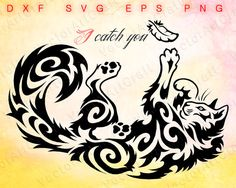 I catch you svg file for clipart kitty clipart foto digital Silhouette Tattoos, Cat Silhouette, Silhouette Machine, Animal Line Drawings, Art Drawings, Tattoo Project, Celtic Art, Tribal Tattoos, Cat Tattoos