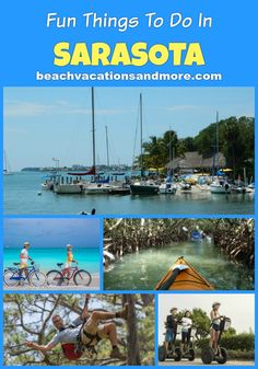 Top fun things to do in Sarasota on vacation - Cruises and dolphin watching, Water sports, Anna Maria Island segway tours, Mangrove Tunnel - and more activities and attractions