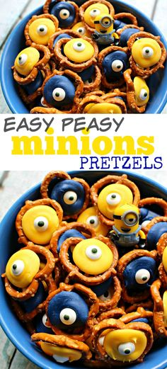 MINIONS PRETZELS SNACK - Quick & easy chocolate treat idea for the Minions movie or Despicable Me / Minions themed birthday party
