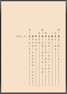 Copenhague cross words_by Hamide design studio Print Layout, Layout Design, Print Design, Web Design, Graphic Design Posters, Graphic Design Typography, Graphic Design Inspiration, Typo Logo, Typography Poster