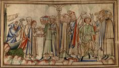 A mid-13th century illustration, from a verse 'Life' of St.Edward 'the Confessor' (Cambridge University Library MS. Ee.iii.59), showing Edward's reception in England, on the left-hand side, and his coronation, on the right.