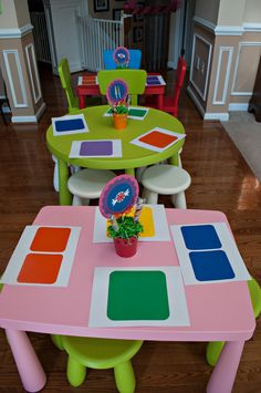 Fun table settings at a Candyland party! See more party ideas at CatchMyParty.com! #partyideas #candy