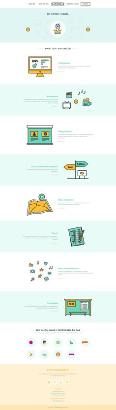 flat website design - love the colors, the fonts, layout, everything about this site. http://www.mrvisual.info/
