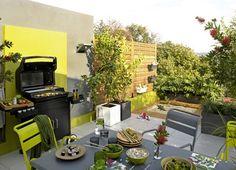 cuisine d'été aménagée sur une terrasse